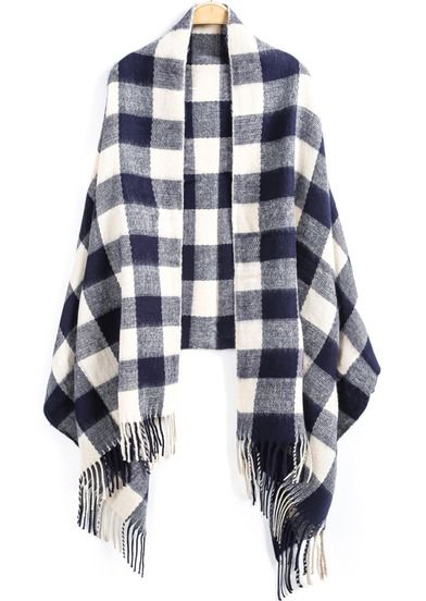 Blue White Plaid Tassel Scarve