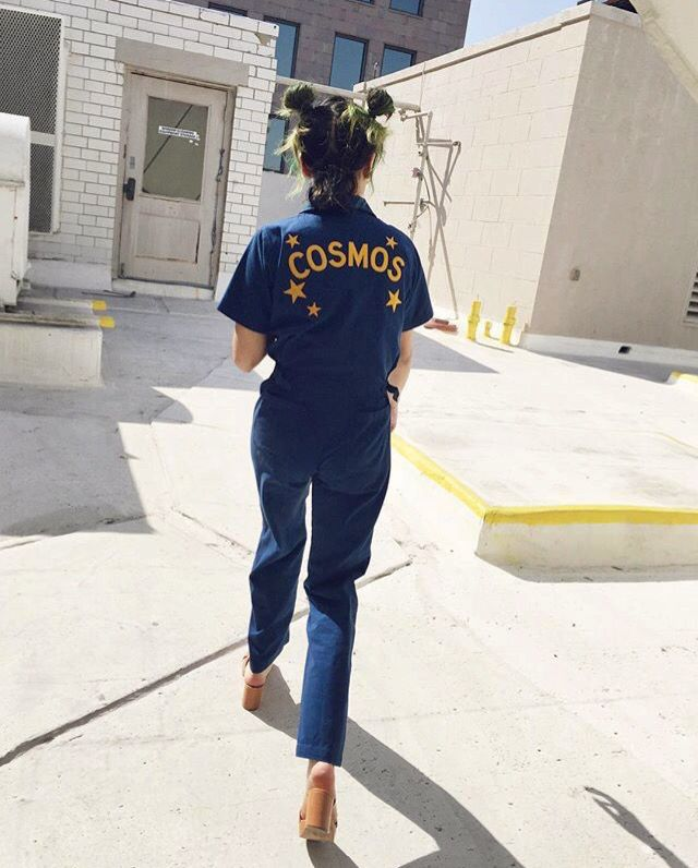 "Walk this way...★ Introducing our ""Stardust Coveralls,"" super soft zip front jumpsuit patterned after an old mechanics onesie."