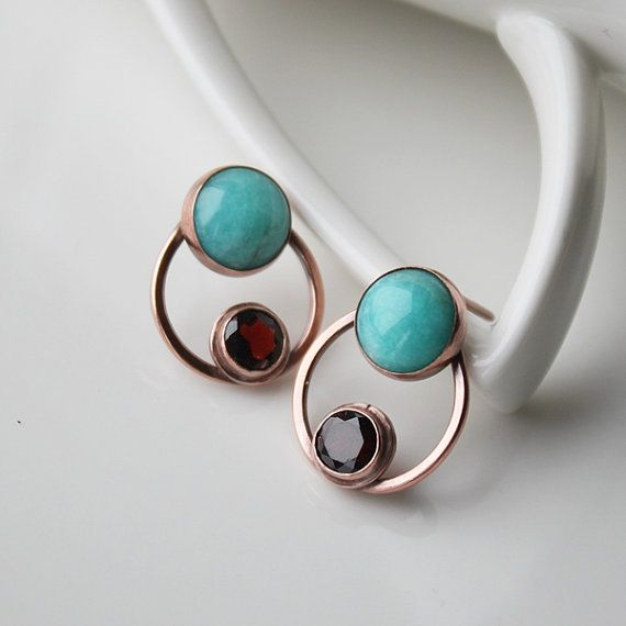 Blue Amazonite Earring Posts Crimson Small Posts by StudioAngel
