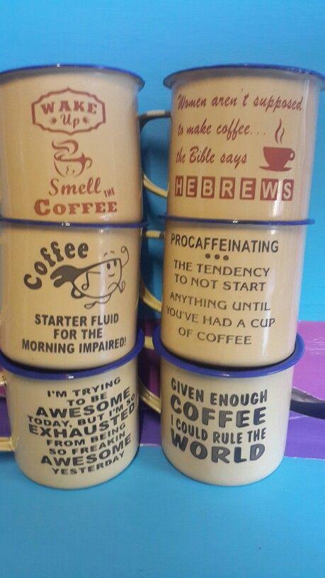 Coffee enamel mugs
