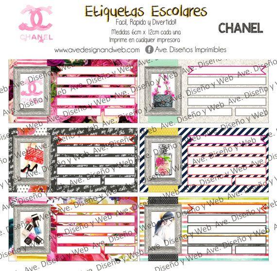 Coco Chanel Etiquetas para cuadernos Coco por AVeDisenoImprimible