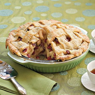 Cranberry-Apple Pie - Update your classic apple pie with sweetened dried cranberries, and top off the impressive piecrust lattice with sparkling sugar.
