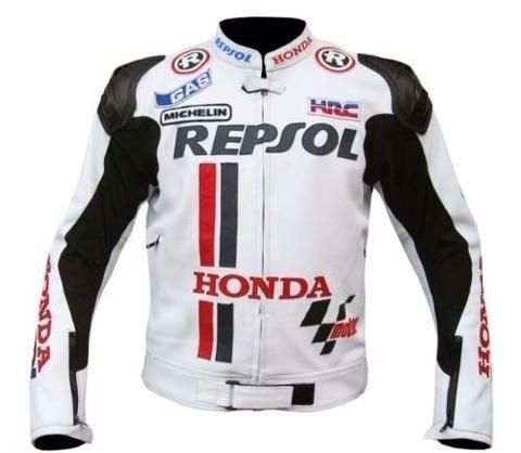 White Honda repsol motorycle jacket with armor protection
