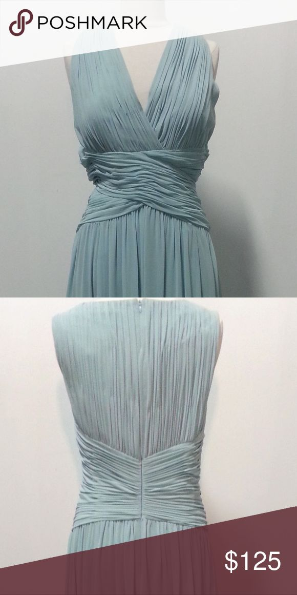 """Evening, bridesmaid, wedding gown Very pretty blue chiffon gown with a flattering criss cross bodice. size 18. Measured flat: Bust 44"""" waist: 39"""" Donna Morgan Dresses"""