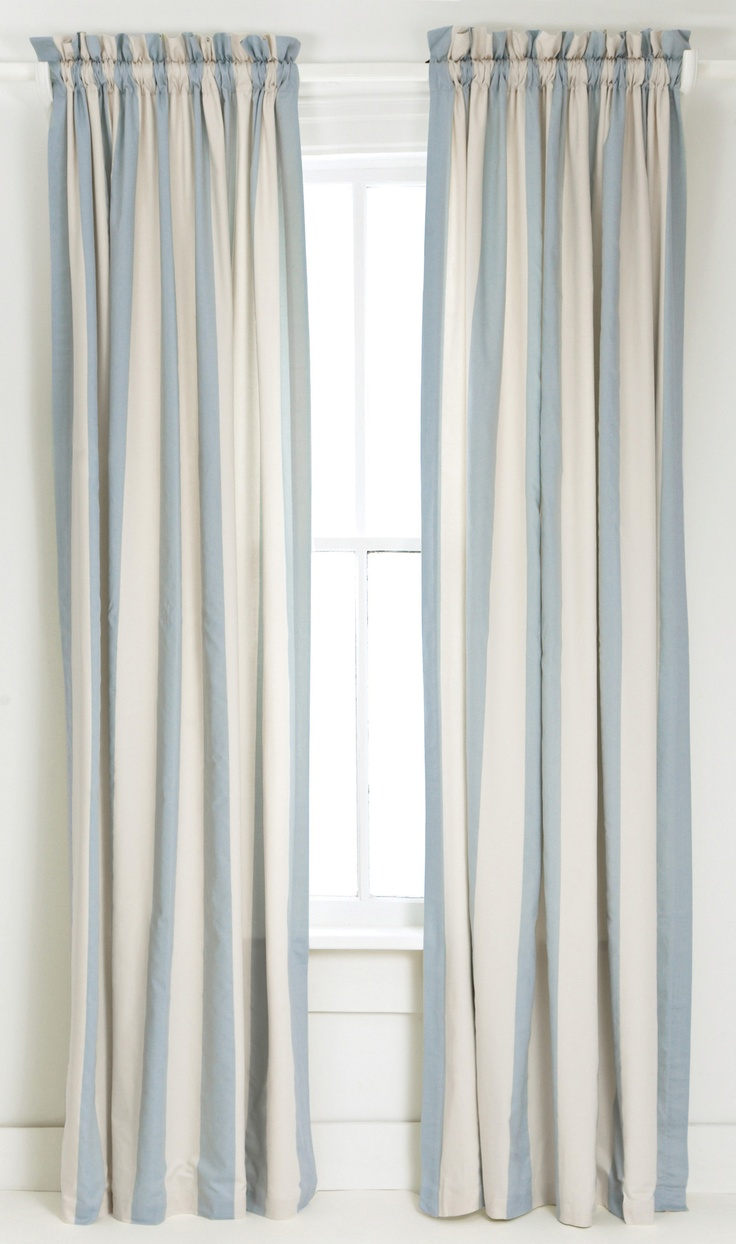 Blue And White Vertical Striped Curtain/Drape.  Grey Striped Curtains