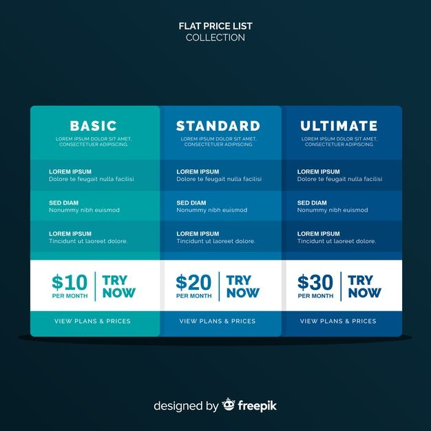 Flat Price List Collection Price List Template List Vector Free