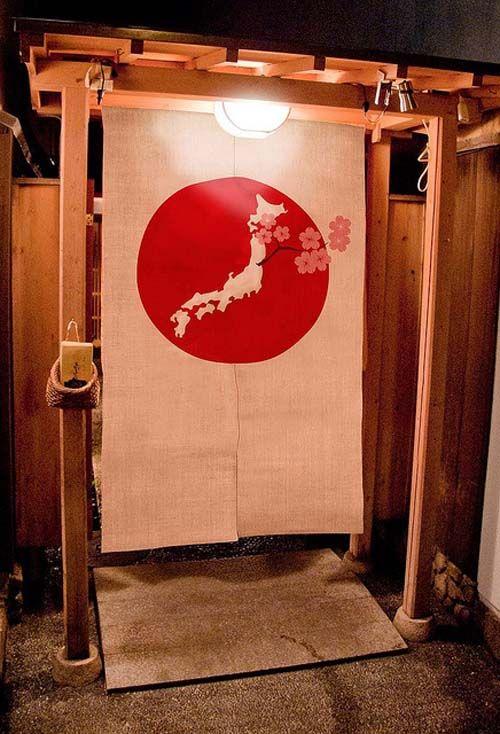 Японские шторы Норен перед входом в дом.