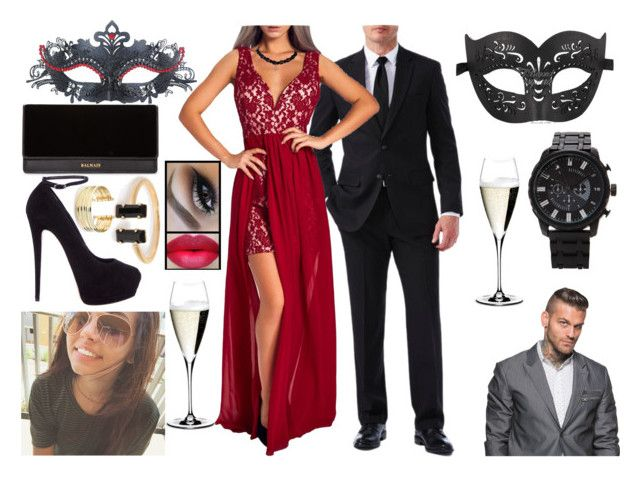 """""""Lorie - Attending Stacey Keibler's Masquerade Party"""" by makhinegankaller14 ❤ liked on Polyvore featuring Haggar, 21 Men, Masquerade, Balmain, Giuseppe Zanotti, Riedel, Belk Silverworks, WWE and wweoc"""