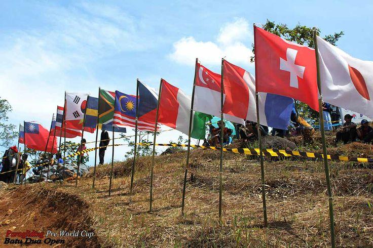 Participants flag paragliding