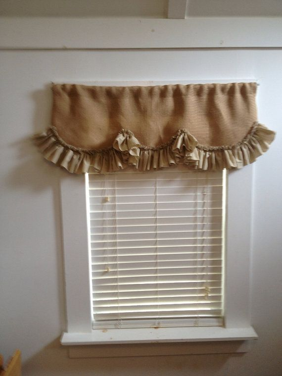 Lined Burlap Valance With Scalloped Muslin Ruffle by MimiAndMe2, $45.00