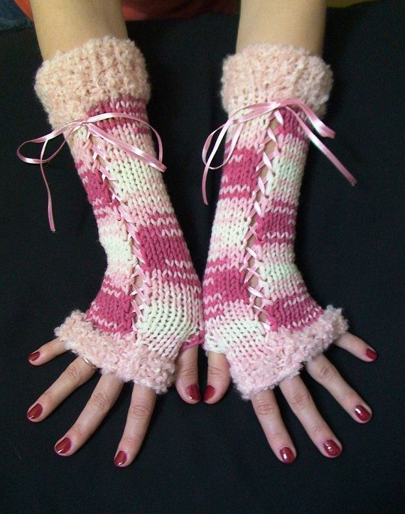 Gloves Long Fingerless Corset Arm Warmers in Pink/ White