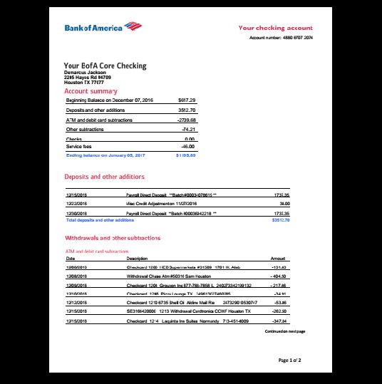 Bank Statement Bank America In 2019 Fake Documents