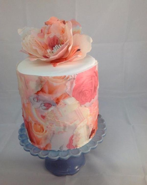 Pink with Decoupage Wafer Paper  Flower http://www.craftsy.com/blog/2014/02/rice-paper-cake-designs/