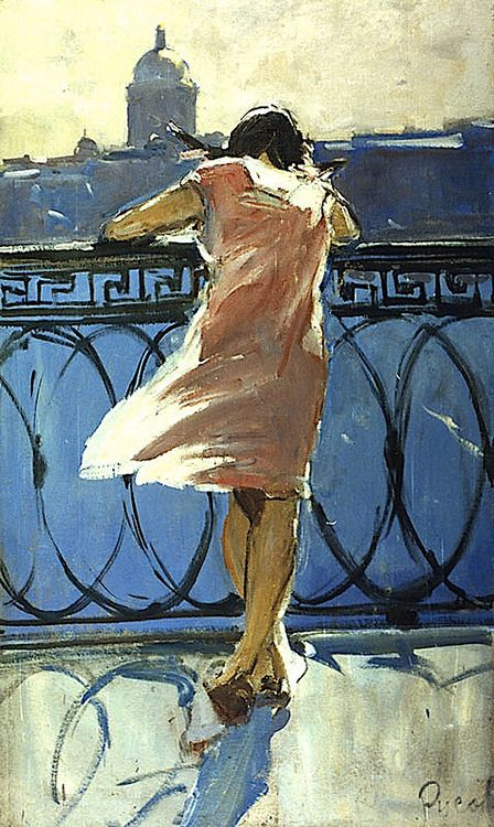 Lev Alexandrovich Russov (1926-1988). At the Neva River Embankment, 1963. Oil on board, 120 x 70.5cm