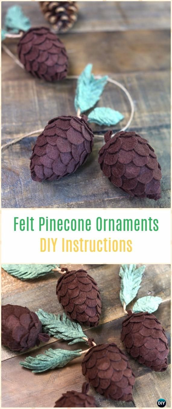 DIY Felt Pine Cones Instructions - DIY Felt Christmas Ornament Craft Projects [Picture Instructions]
