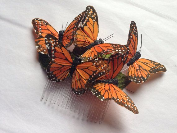 Monarch glen feather butterfly hair comb hairpiece bridal weddings boho orange on Etsy, $20.00