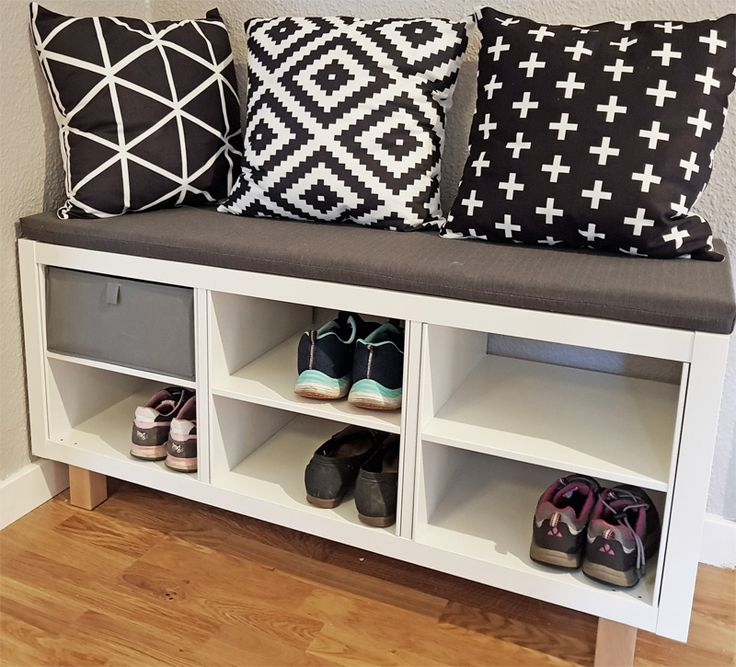 Kallax bench and shoe rack in Scandi style