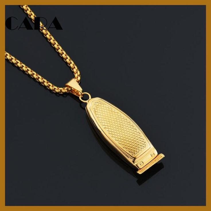 CARA New Gold Color stainless steel barber hair shaver pendant necklace stylish mens necklace accessory wholesale CAGF0358