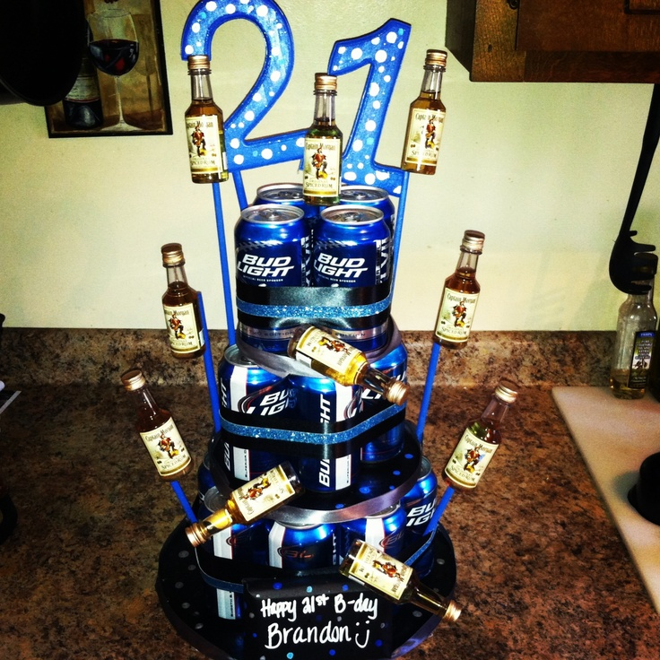 My first completed Pinterest project: Beer Can Birthday Cake for the boyfriend.