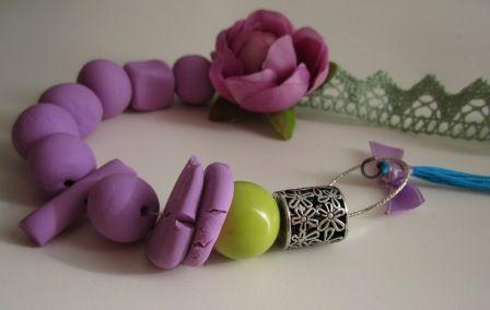 purple fimo necklace