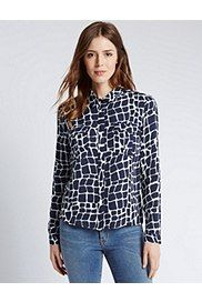 Giraffe Print Shirt, BLUE MIX