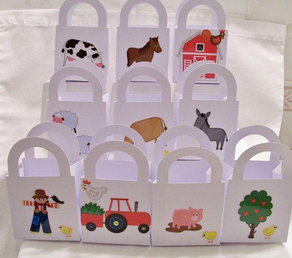 10 Farm themed party favour boxes  farm by SparkleandComfort, $12.00