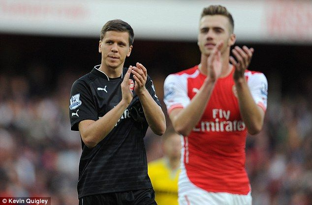 Defence: Wojciech Szczesny said he was disappointed to concede from a set piece...