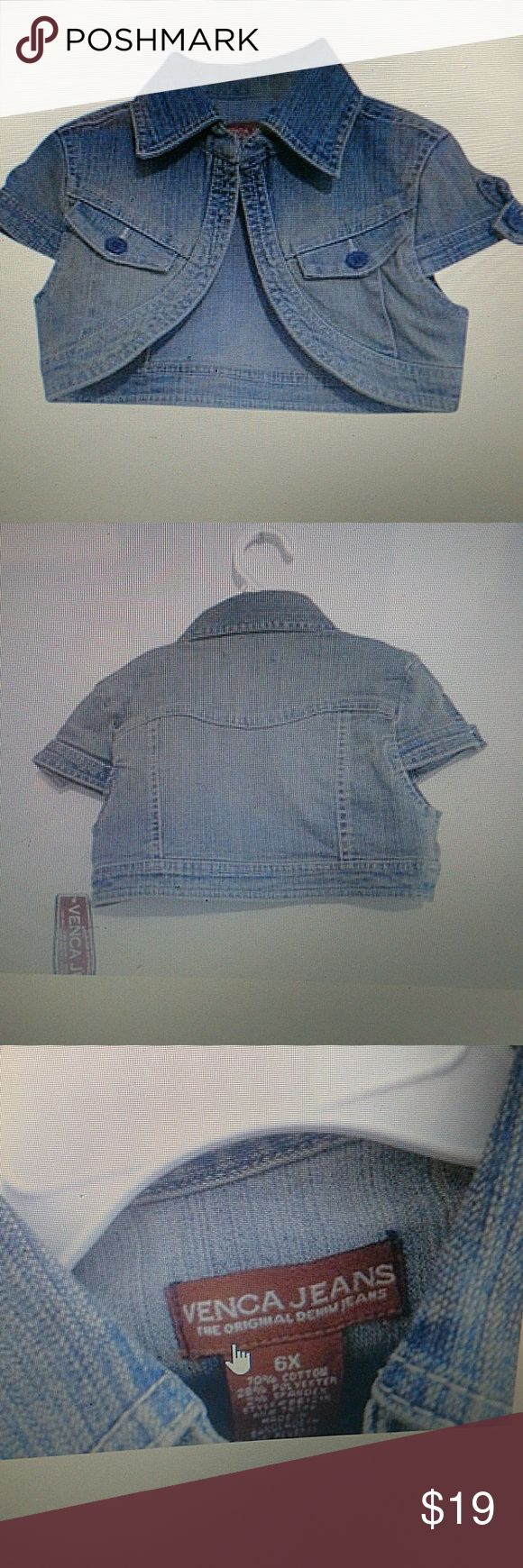 Jean Venca The Denim Girl jacket.size 4 ,5 ,6, 6x. Blue jean the original denim jacket for girl.Material: 70% cotton ,28% Polyester and 2% Spandex.Made in Bangladesh. Venca Jackets & Coats Jean Jackets