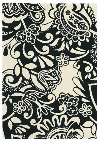 We love the decorative floral black & white pattern on this beautiful wool rug by Brink & Campman: Brink & Campman Fusion Joy 54705 Designer Wool Rug