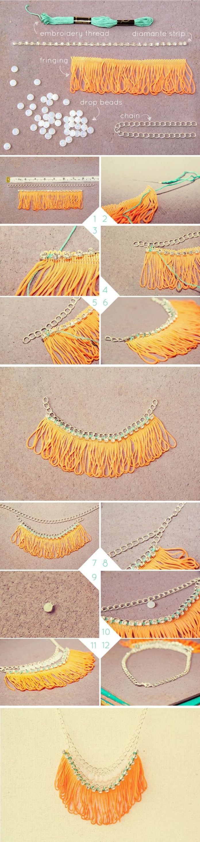 DIY Jewelry: DIY Neon Fringe Necklace | Fall For DIY