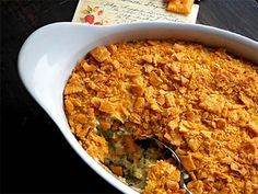 Broccoli Cheez-It Souffle Recipe... Cheez-Its are the perfect topping for broccoli casserole.