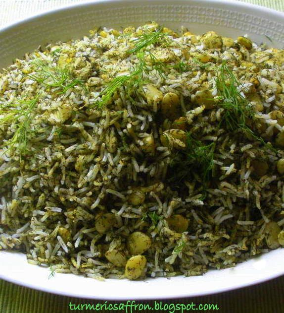 Shevid Baghali Polow - Dill & Lima Beans Rice. i thaw the fava beans,peel them n then fry them in 2 or 3 tbsp of light vegetable oil, continue frying until dry,add 1/2 tsp turmeric and fry for    another minute. set aside..mix with rice,fresh chopped dill .. this will stop the fava from becoming mushy while steaming with rice.this was taught to me by an old chef.