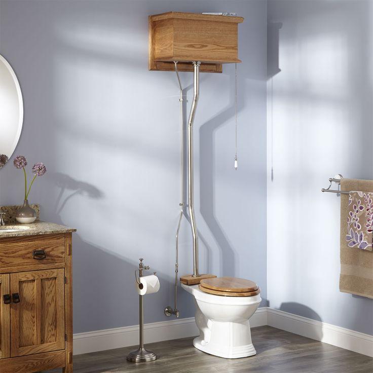 Golden Oak High Tank Pull Chain Toilet-White Elongated Bowl-Br. Nickel Trim