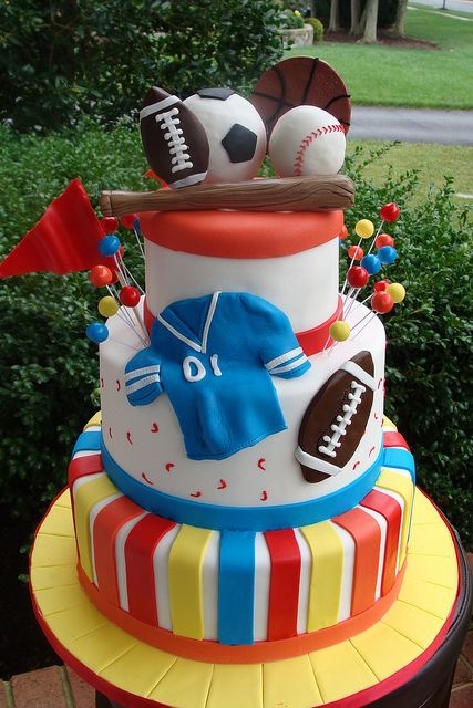 #Sports #Cake with sports #Shirt #Soccer ball #Football #Baseball and great detailing! We love and had to share! Great #CakeDecorating! Sports Theme Birthday Cake by CakeIDo! on Flickr