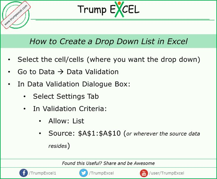 how to create drop down list in excel sheet