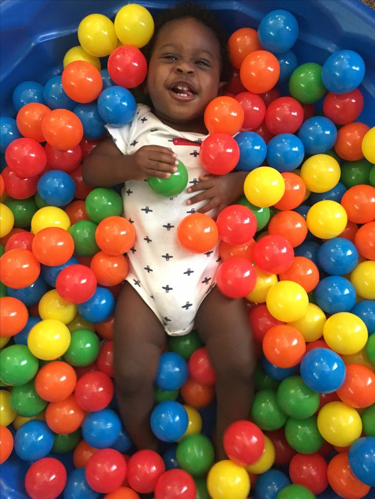 Homemade ball pit, made from a plastic baby swimming pool