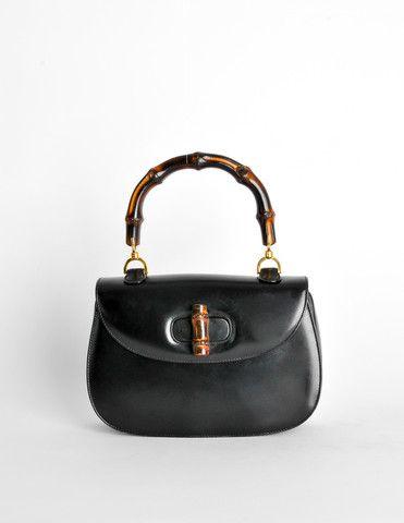 Gucci Vintage 1960s Black Leather Bamboo Handle Handbag - Amarcord Vintage Fashion