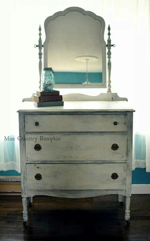 Antique dresser painted in vintage white with the original antique pulls ! #masonjar #furniture #repurpose #upcycle #vintage #shabbychic #decor
