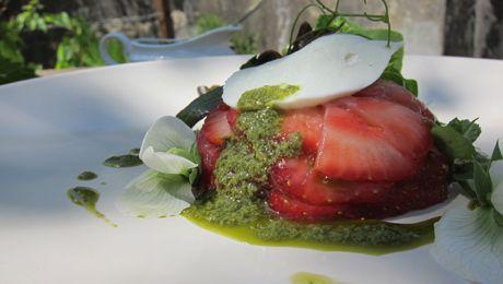 Strawberry and Mozzarella Salad with Fresh Mint Pesto