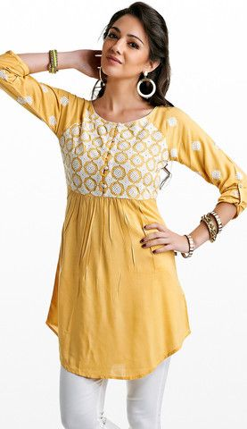 Yellow Embroidered Cotton Kurti | Naari