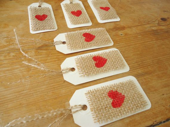 Burlap Red Heart Gift Tag/ Wedding Favor Tag Set of 12 by SweetThymes, $15.99