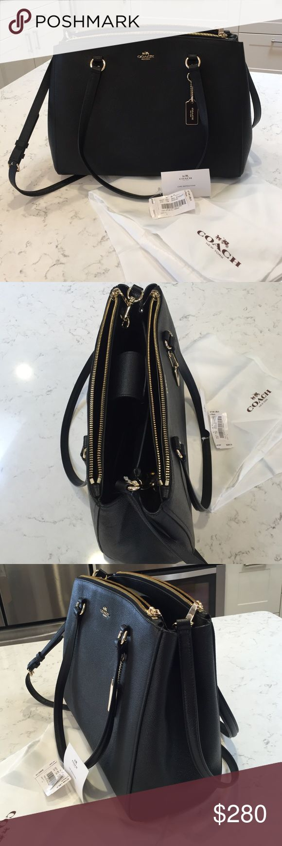 NWT Black COACH purse BRAND NEW black COACH 'STANTON' carryall in crossgrain leather. comes with cross body strap. has two large pockets, and divider, along with three smaller pockets. Coach Bags Totes