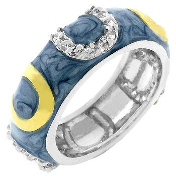 Light Blue Horseshoe Enamel Ring (size: 09)   http://atomicfleamarket.com/light-blue-horseshoe-enamel-ring-size-p-10889.html