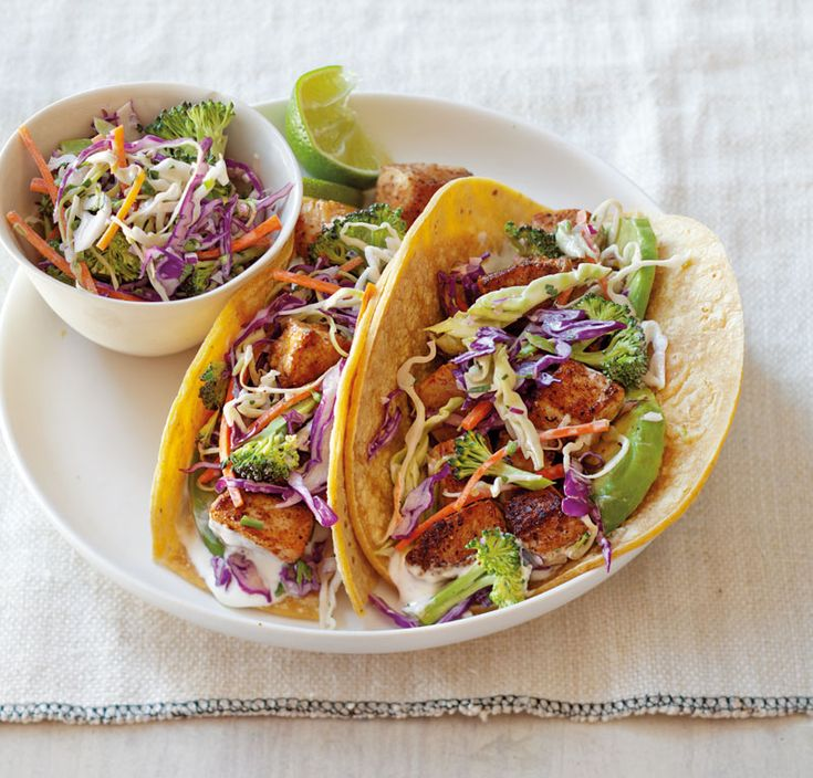 Fish tacos with broccoli slaw and lime cream sauce for Sauces for fish tacos