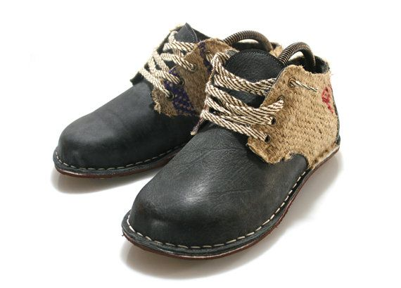 Navy Blue Leather and Utah Derby Shoes for Men & by WalkaholicS, $165.00