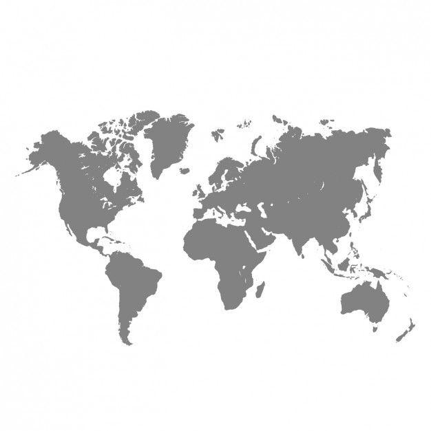 mapa do mundo cinza Vetor grátis