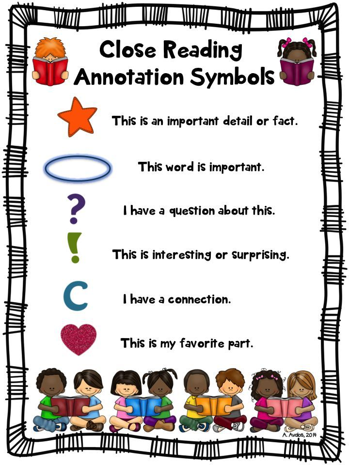 literature and informational text. This chart of annotation symbols ...