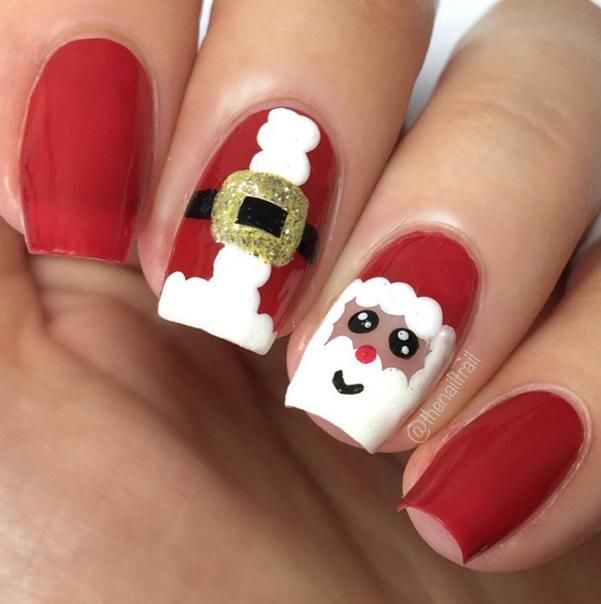 18 festive ways to decorate your nails for the holidays - Best 25+ Santa Nails Ideas On Pinterest Xmas Nail Art, Nail Art