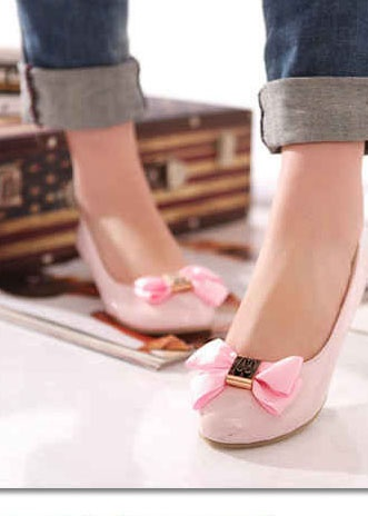 cute pink bow shoes