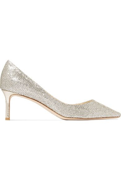 Jimmy Choo - Romy Glittered Leather Pumps - Silver - IT